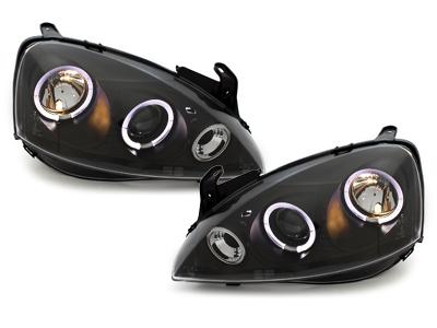 LED Angel Eyes Scheinwerfer Opel Corsa C 01-06 schwarz