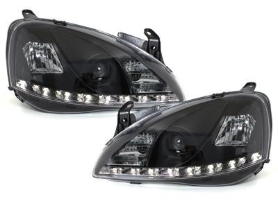 LED TAGFAHRLICHT Scheinwerfer Opel Corsa C 01-06 black schwarz