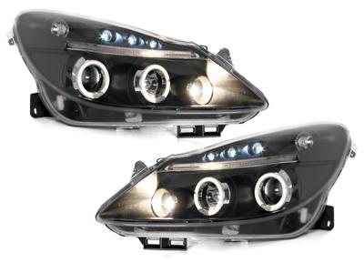 LED Angel Eyes Scheinwerfer Opel Corsa D 06-10 schwarz