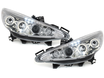 LED Angel Eyes Scheinwerfer Peugeot 207 06+ chrom