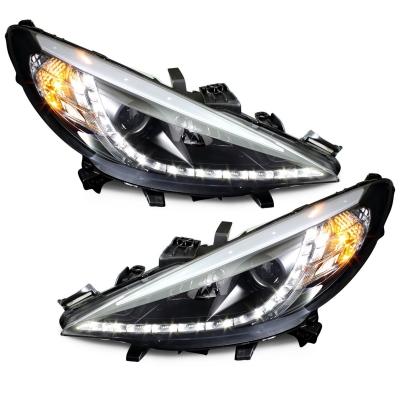 LED TAGFAHRLICHT Scheinwerfer Peugeot 207 06+ black schwarz