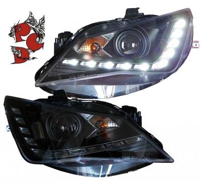 LED TAGFAHRLICHT Scheinwerfer Seat Ibiza 6J 12+ Facelift schwarz