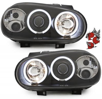 CCFL Angel Eyes Scheinwerfer VW Golf IV 97-04 schwarz Sonar