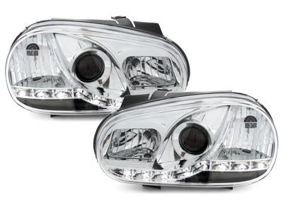 LED TAGFAHRLICHT Scheinwerfer VW Golf 4 IV 98-02 chrom