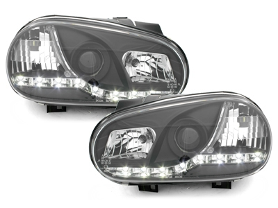 LED TAGFAHRLICHT Scheinwerfer VW Golf 4 IV 98-02 black schwarz