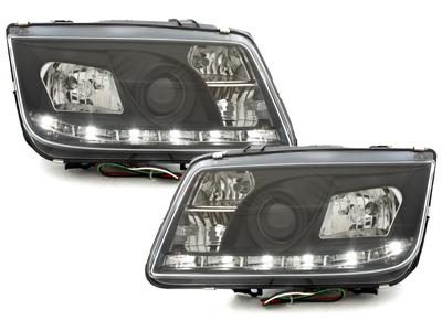 LED TAGFAHRLICHT Scheinwerfer VW Bora 99-08 black schwarz