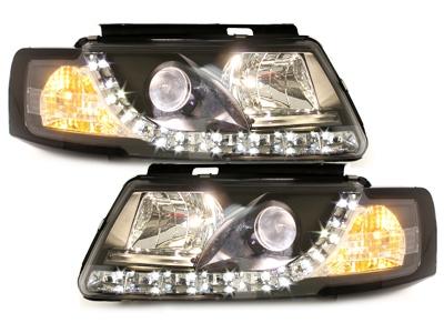 LED TAGFAHRLICHT Scheinwerfer VW Passat 3B 96-00 black schwarz
