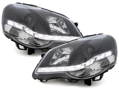 LED TAGFAHRLICHT Scheinwerfer VW Polo 9N3 05-09 schwarz Valeo