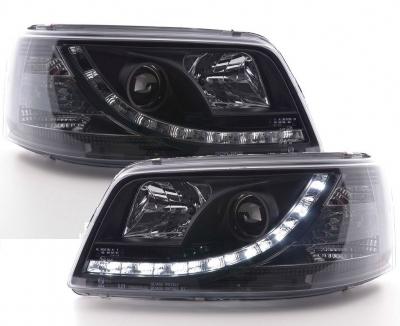 LED TAGFAHRLICHT Scheinwerfer VW T5 03-09 black schwarz LWR