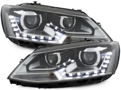 LED TAGFAHRLICHT Scheinwerfer VW Jetta VI 11-13 schwarz