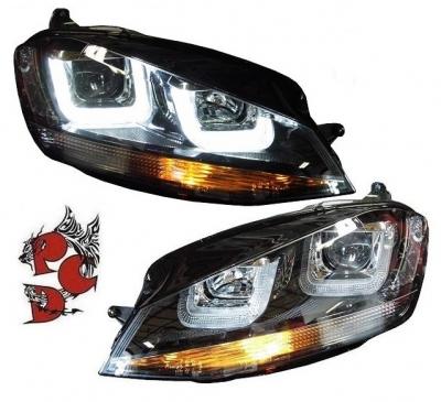 LED Tagfahrlicht Scheinwerfer VW Golf 7 Bj. 13-17 schwarz R-Look links rechts
