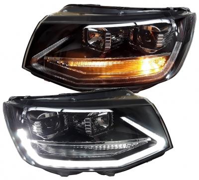 Scheinwerfer VW T6 schwarz Lightbar LED Tagfahrlicht